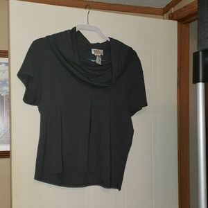 Talbots Short Sleeved Cowl Top XL Charcoal Gray